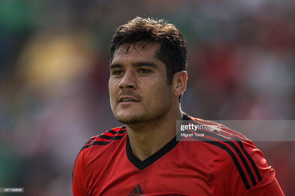 Javier Orozco of Mexico looks on during a friendly match between Mexico and Panama at Corregidora Stadium on October 12, 2014 in Queretaro, Mexico.