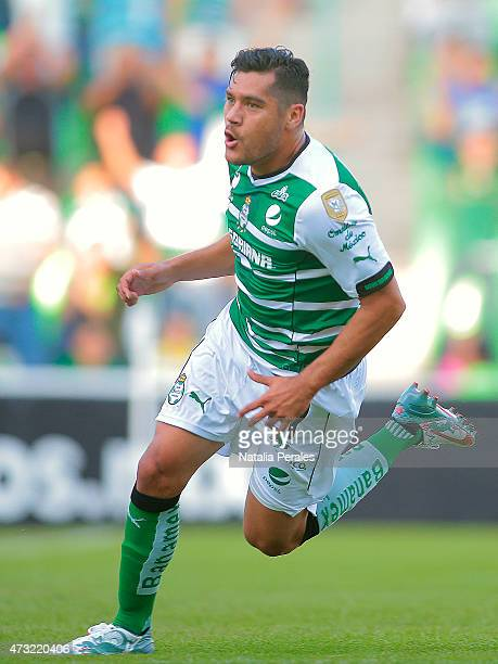 Javier Orozco of Santos celebrates after scoring the first goal of his team during a quarterfinal first leg match between Santos Laguna and Tigres...