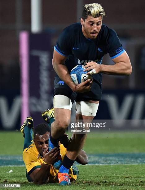 Javier Ortega Desio of Argentina in action during a match between Australia and Argentina as part of The Rugby Championship 2015 at Estadio Malvinas...