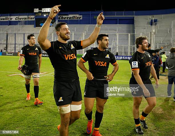 Javier Ortega Desio of Jaguares celebrates after winning the match between Jaguares and Kings as part of Super Rugby 2016 6 at Jose Amalfitani...
