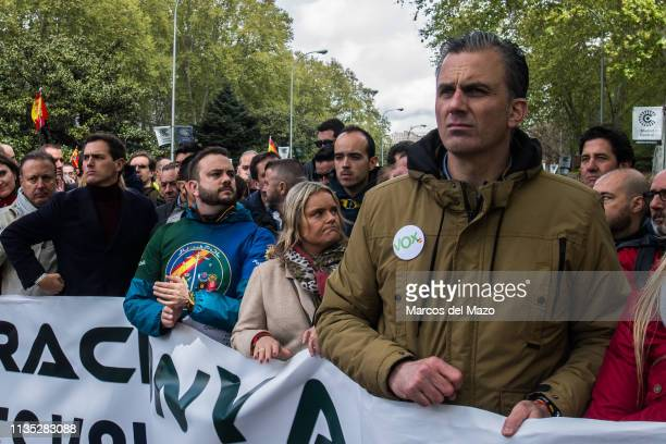 Javier Ortega Smith general secretary of far right party VOX and Albert Rivera leader of Ciudadanos party supporting a demonstration where thousands...