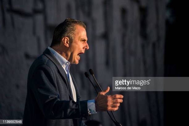 Javier Ortega Smith of far right wing party VOX during the closing campaign rally ahead of the general elections that will take place in Spain next...
