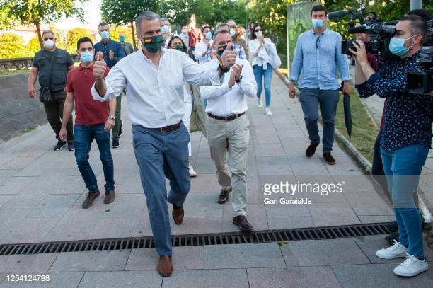 Javier Ortega Smith, Secretary General of the Spanish far-right party, Vox, arrives in San Sebastian to attend a rally in the election campaign for...