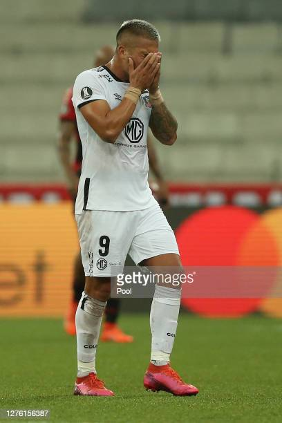 Javier Parraguez of ColoColo reacts during the halftime of during a group C match of Copa CONMEBOL Libertadores 2020 between Athletico Paranaense and...
