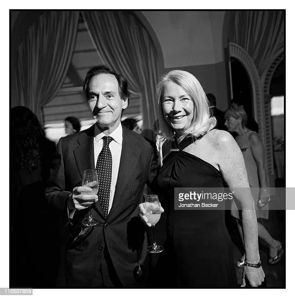Javier Pascual president of Conde Nast Spain and Annie Holcroft publisher of Vanity Fair UK are photographed at Vanity Fair Cannes Party at the Eden...