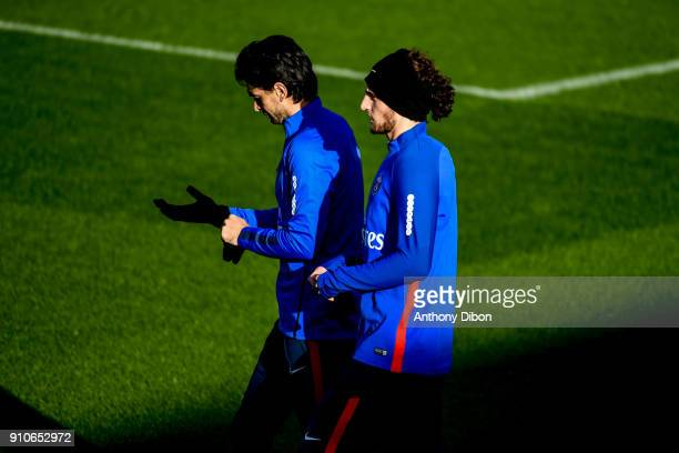 Javier Pastore and Adrien Rabiot of PSG during training session of Paris Saint Germain PSG at Camp des Loges on January 26 2018 in Paris France