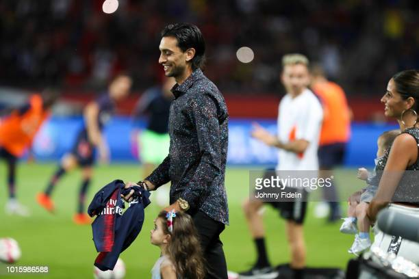 Javier Pastore and Chiara Picone wife of Javier Pastore during the French Ligue 1 match between Paris Saint Germain and Caen at Parc des Princes on...