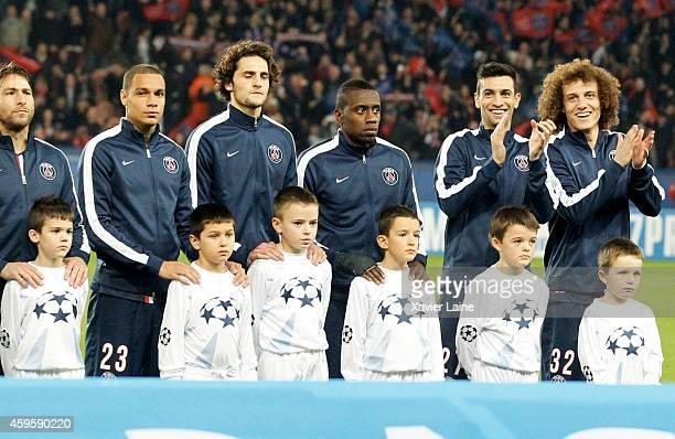 Javier Pastore and David Luiz of Paris SaintGermain are happy before the UEFA Champions League between Paris SaintGermain FC and Ajax Amsterdam FC at...
