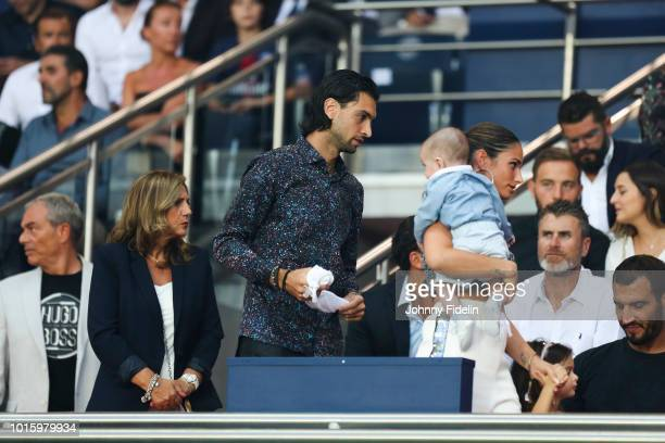 Javier Pastore and his wife Chiara Picone during the French Ligue 1 match between Paris Saint Germain and Caen at Parc des Princes on August 12 2018...