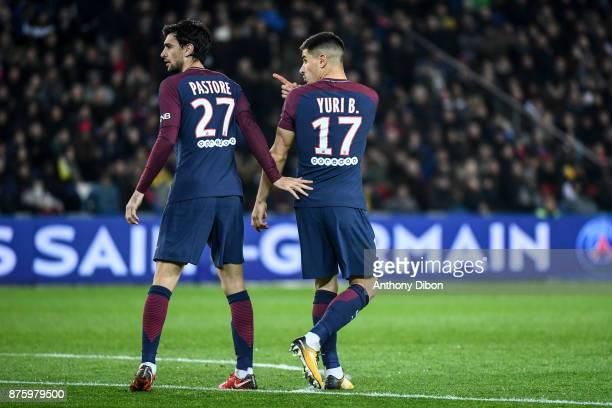 Javier Pastore and Yuri Berchiche of PSG during the Ligue 1 match between Paris Saint Germain and Nantes at Parc des Princes on November 18 2017 in...