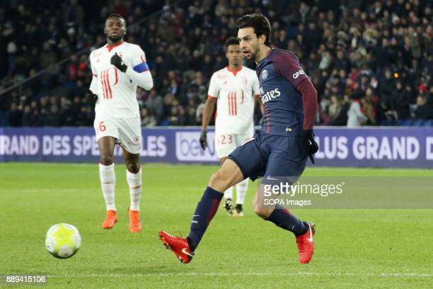 Javier Pastore in action during the French Ligue 1 soccer match between Paris Saint Germain and Lille at Parc des Princes