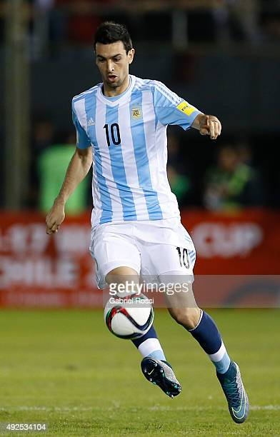 Javier Pastore of Argentina drives the ball during a match between Paraguay and Argentina as part of FIFA 2018 World Cup Qualifier at Defensores del...