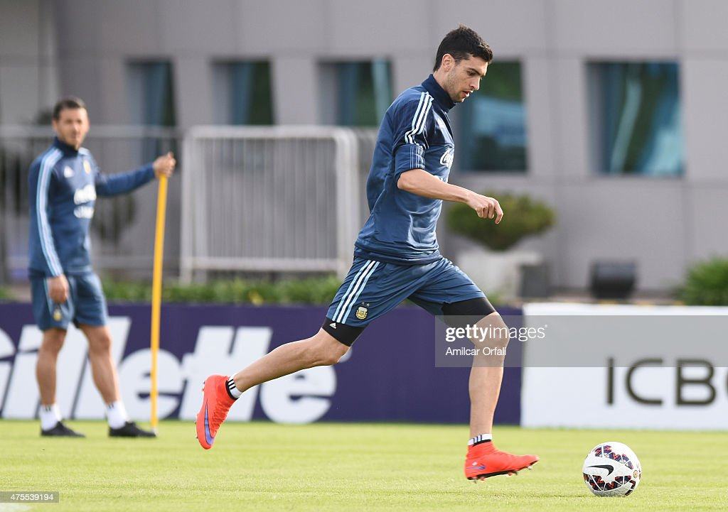 Javier Pastore of Argentina drives the ball during a training session at Argentine Football Association 'Julio Humberto Grondona' training camp on June 01, 2015 in Ezeiza, Argentina. Argentina will face its first match as part of Copa America Chile 2015 against Paraguay on June 13th, 2015.