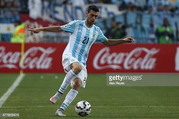 Javier Pastore of Argentina drives the ball during the 2015 Copa America Chile Group B match between Argentina and Jamaica at Sausalito Stadium on...