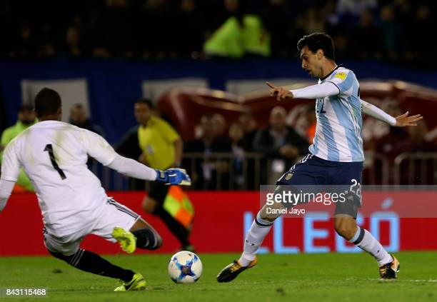 Javier Pastore of Argentina tries to score past Wuilker Faríñez goalkeeper of Venezuela during a match between Argentina and Venezuela as part of...