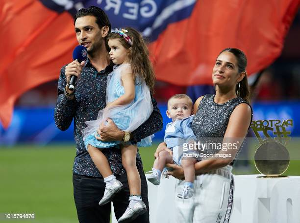 Javier Pastore of AS Roma and his family during the Ligue 1 match between Paris Saint Germain and SM Caen at Parc des Princes on August 12 2018 in...
