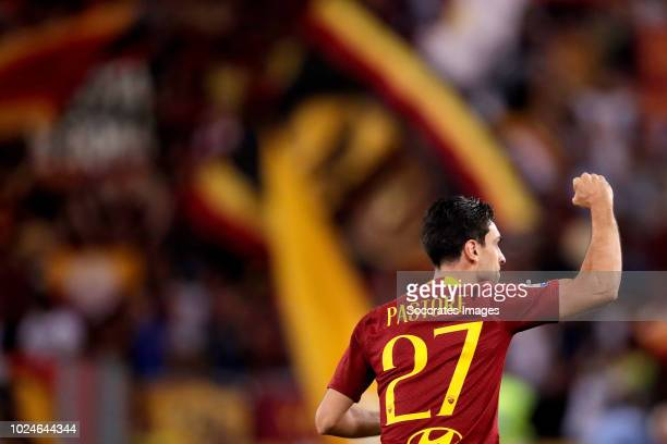 Javier Pastore of AS Roma celebrates 10 during the Italian Serie A match between AS Roma v Atalanta Bergamo at the Stadio Olimpico Rome on August 27...