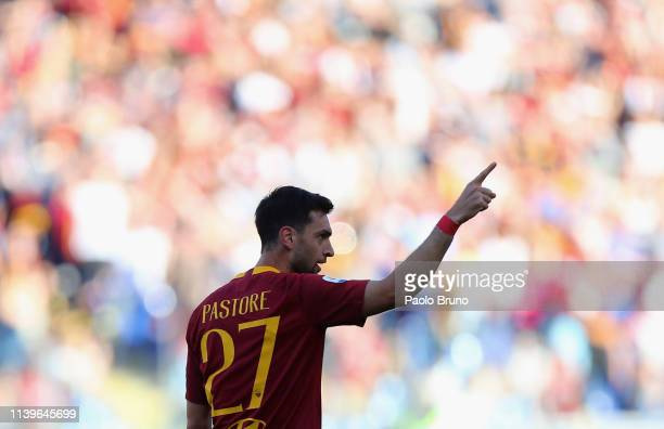 Javier Pastore of AS Roma celebrates after scoring the team's second goal during the Serie A match between AS Roma and Cagliari at Stadio Olimpico on...