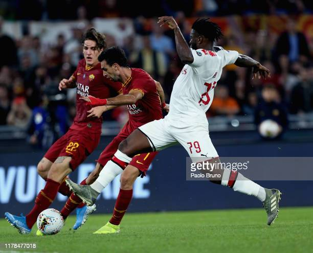 Javier Pastore of AS Roma kicks the ball during the Serie A match between AS Roma and AC Milan at Stadio Olimpico on October 27 2019 in Rome Italy