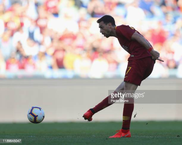 Javier Pastore of AS Roma scores the team's second goal during the Serie A match between AS Roma and Cagliari at Stadio Olimpico on April 27 2019 in...