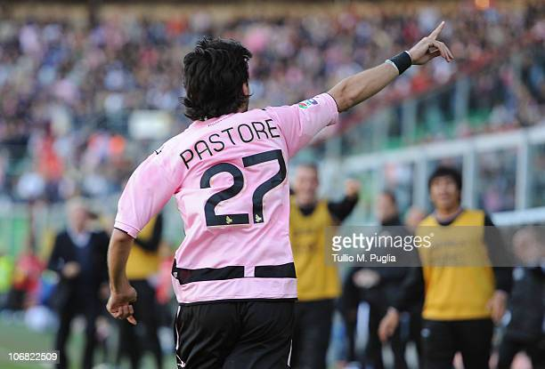 Javier Pastore of Palermo celebrates after scoring the opening goal during the Serie A match between Palermo and Catania at Stadio Renzo Barbera on...
