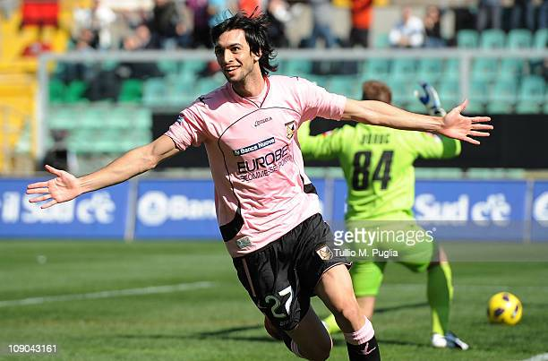 Javier Pastore of Palermo celebrates after scoring the opening goal during the Serie A match between US Citta di Palermo and ACF Fiorentina at Stadio...