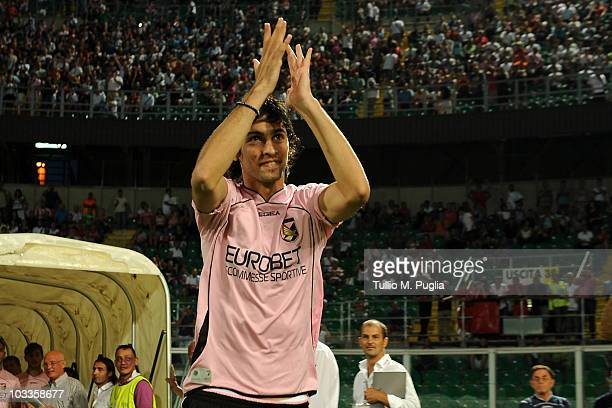 Javier Pastore of Palermo greets supporters during the presentation of Palermo team before the pre season friendly tournament 'ARS Trophy' between US...