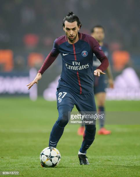 Javier Pastore of Paris controls the ball during the UEFA Champions League Round of 16 Second Leg match between Paris SaintGermain and Real Madrid at...