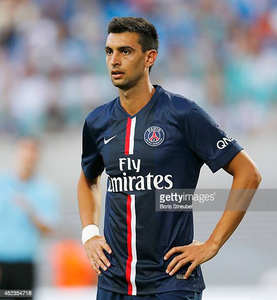 Javier Pastore of Paris looks on during the pre season friendly match between RB Leipzig and Paris SaintGermain at Red Bull Arena on July 18 2014 in...