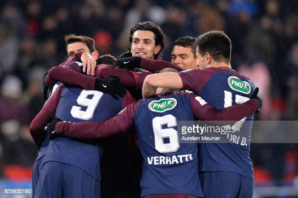 Javier Pastore of Paris SaintGermain and teammates congratulate Edinson Cavani for his goal during the French Cup match between Paris SaintGermain...