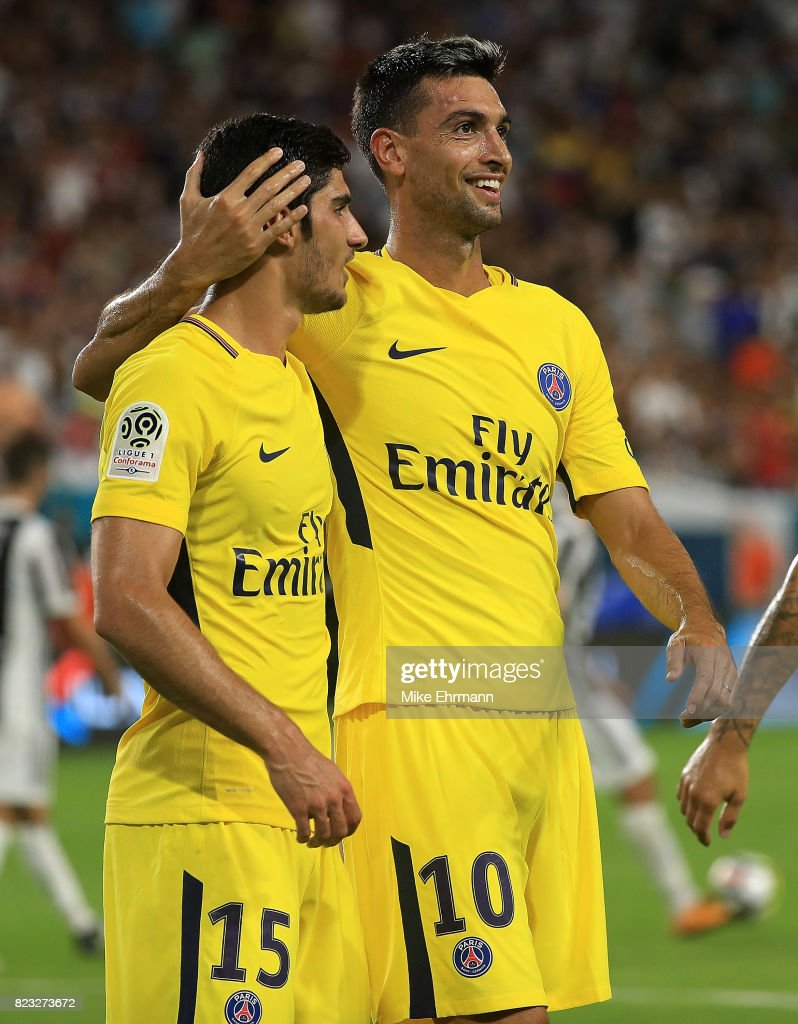 Javier Pastore #10 of Paris Saint-Germain celebrates a goal during the International Champions Cup 2017 match against the Juventus at Hard Rock Stadium on July 26, 2017 in Miami Gardens, Florida.