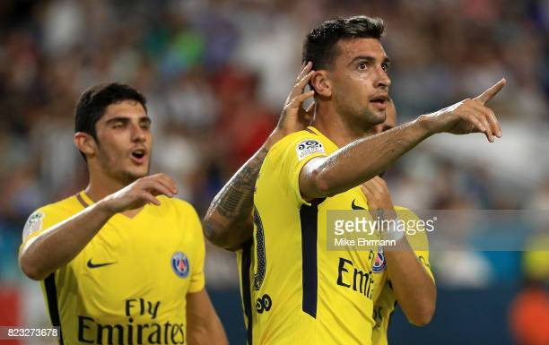 Javier Pastore of Paris SaintGermain celebrates a goal during the International Champions Cup 2017 match against the Juventus at Hard Rock Stadium on...