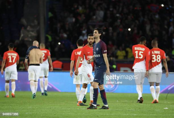Javier Pastore of Paris SaintGermain celebrates the championship victory after the Ligue 1 match between Paris Saint Germain and AS Monaco at Parc...