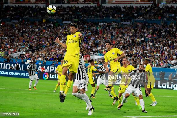 Javier Pastore of Paris SaintGermain heads the ball in the second half against the Juventus during their International Champions Cup 2017 match at...