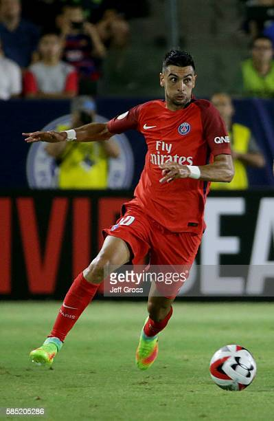 Javier Pastore of Paris SaintGermain in action against Leicester City during the 2016 International Champions Cup at StubHub Center on July 30 2016...
