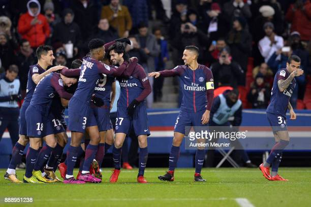 Javier Pastore of Paris SaintGermain is congratulated by teammates after scoring during the Ligue 1 match between Paris Saint Germain and Lille OSC...