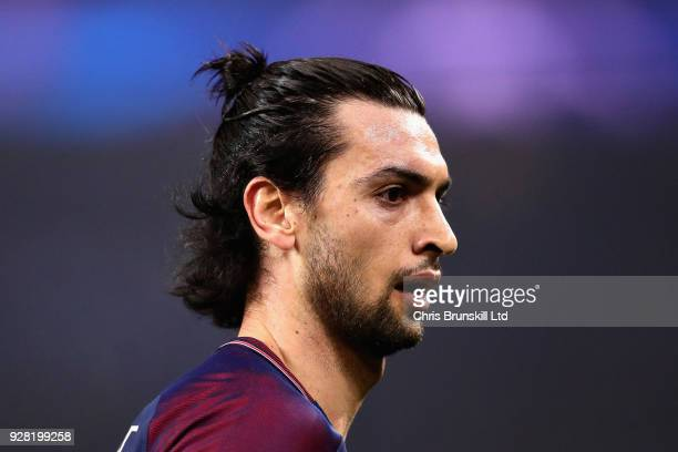 Javier Pastore of Paris SaintGermain looks on during the UEFA Champions League Round of 16 Second Leg match between Paris SaintGermain and Real...