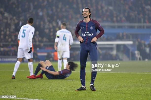 Javier Pastore of Paris SaintGermain reacts during the UEFA Champions League Round of 16 Second Leg match between Paris SaintGermain and Real Madrid...