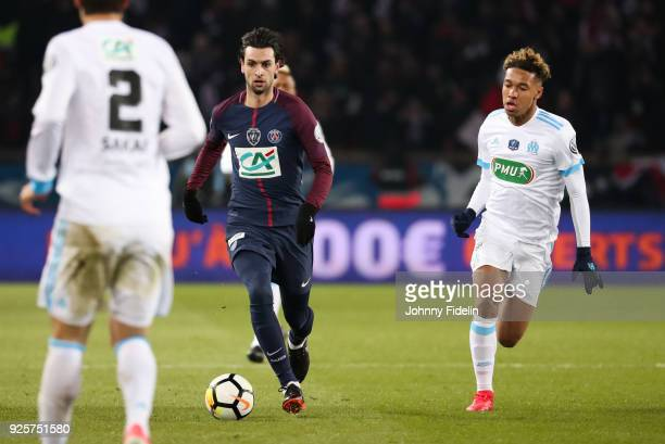 Javier Pastore of PSG and Boubacar Kamara of Marseille during the French Cup match between Paris Saint Germain and Marseille at Parc des Princes on...