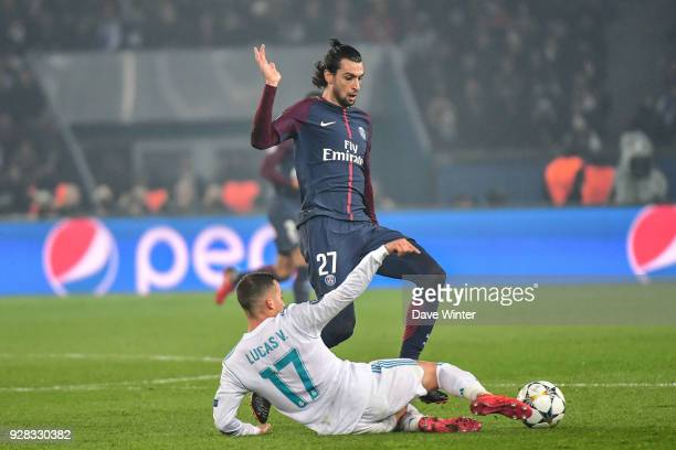 Javier Pastore of PSG and Lucas Vazquez of Real Madrid during the UEFA Champions League Round of 16 second leg match between Paris Saint Germain and...