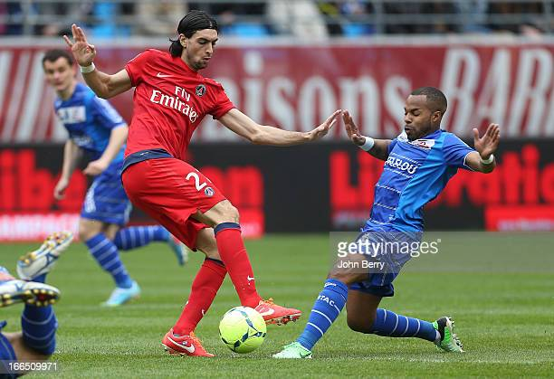 Javier Pastore of PSG and Quentin Othon of Troyes in action during the Ligue 1 match between ES Troyes Aube Champagne ESTAC and Paris SaintGermain FC...