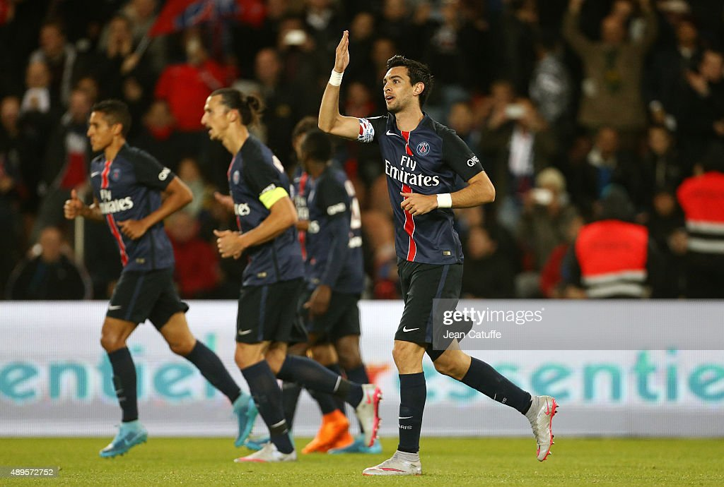 Javier Pastore of PSG celebrates his goal during the French Ligue 1 match between Paris Saint-Germain FC (PSG) and EA Guingamp at Parc des Princes stadium on September 22, 2015 in Paris, France.