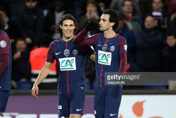 Javier Pastore of PSG celebrates his goal with Edinson Cavani during the French National Cup match between Paris Saint Germain and En Avant Guingamp...