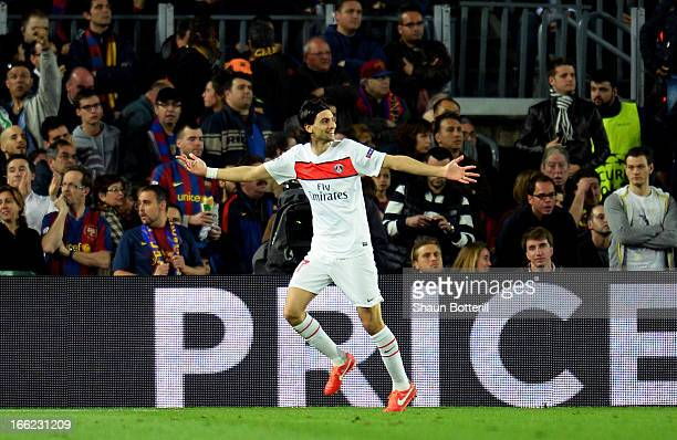 Javier Pastore of PSG celebrates scoring the first goal during the UEFA Champions League quarterfinal second leg match between Barcelona and Paris St...