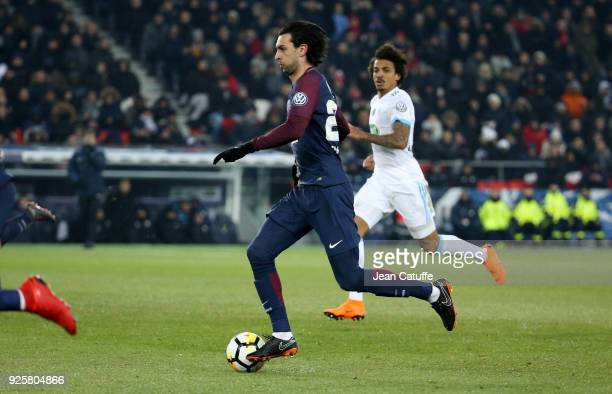 Javier Pastore of PSG during the French National Cup match between Paris Saint Germain and Olympique de Marseille at Parc des Princes stadium on...