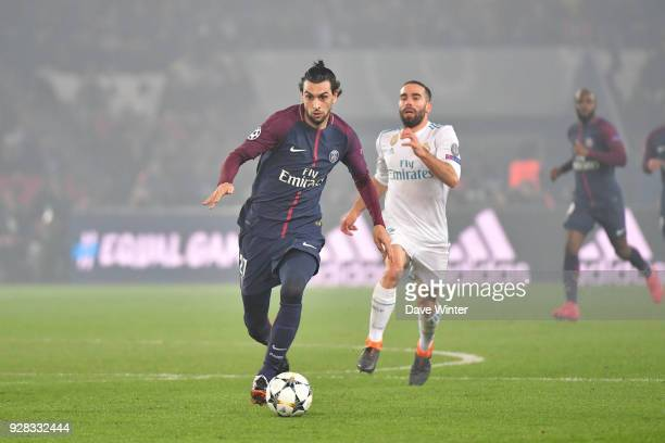 Javier Pastore of PSG during the UEFA Champions League Round of 16 second leg match between Paris Saint Germain and Real Madrid at Parc des Princes...