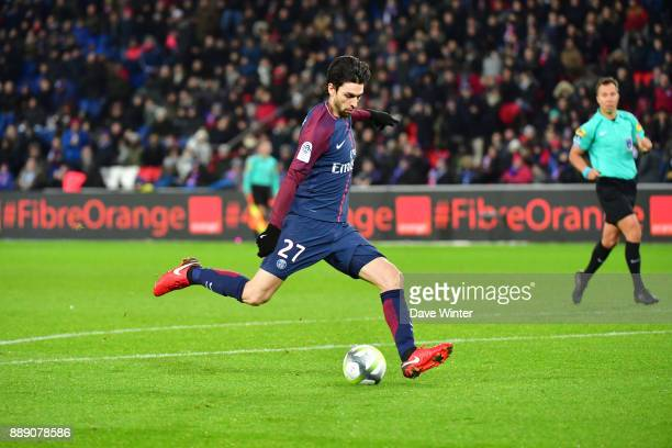Javier Pastore of PSG fires his side 20 ahead during the Ligue 1 match between Paris Saint Germain and Lille OSC at Parc des Princes on December 9...