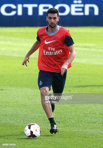 Javier Pastore of PSG in action during day 3 of the Paris SaintGermain Training Camp the Qatar Winter Tour held at the Aspire Academy for Sports...