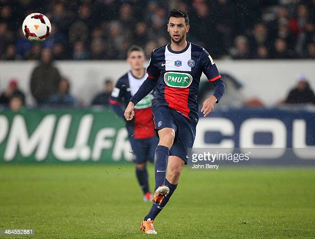 Javier Pastore of PSG in action during the French Cup match between Paris SaintGermain FC and Montpellier HSC at the Parc des Princes stadium on...
