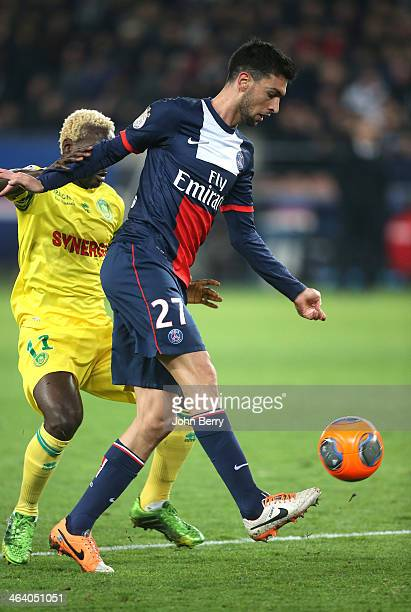 Javier Pastore of PSG in action during the french Ligue 1 match between Paris SaintGermain FC and FC Nantes at the Parc des Princes stadium on...
